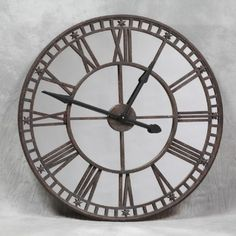10d0960679d Industrial Large Antiqued Clock With Mirror Face Wall Clocks