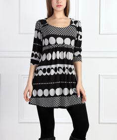 Look at this #zulilyfind! Black & White Dot Shift Tunic by  #zulilyfinds