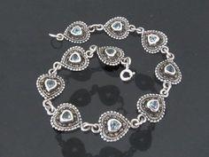 Vintage Sterling Silver Aquamarine & Marcasite by wandajewelry2013