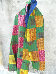 Vintage Long Reversible Handmade Neck Wrap Kantha Scarf SILK Stole 101 #Handmade #Scarf