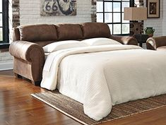 Burnsville Collection 9720639 97 Queen Sofa Sleeper with Faux Leather Upholstery Stitched Detailing Nail Head Accents Rolled Arms and Traditional Style in Espresso