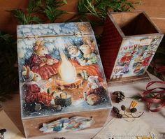 """Купить Короб для мелочей и карандашница """"Праздник в зимнем лесу"""" в интернет магазине на Ярмарке Мастеров"""
