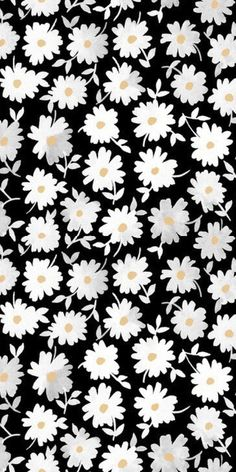 print, pattern, modern floral, monochrome, design, daisy, illustration