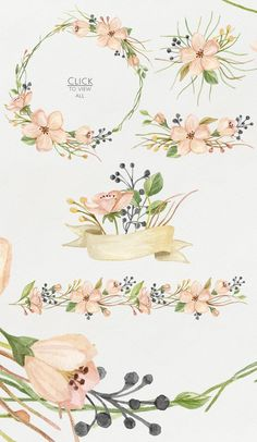 Watercolor blooming. Spring set by NataliVA on Creative Market: