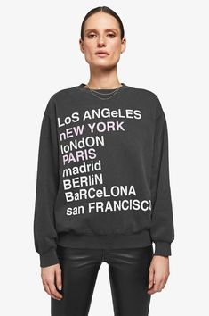 ANINE BING City Love Sweatshirt - Charcoal...