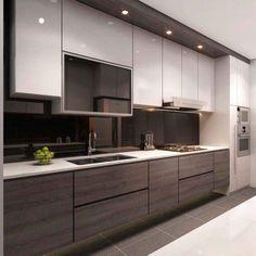 Modern grey kitchen designs grey n ideas modern cabinets gray Modern Kitchen Images, Modern Grey Kitchen, Contemporary Kitchen Cabinets, Classic Kitchen, Modern Kitchen Interiors, Contemporary Kitchen Design, Modern Design, Kitchen Room Design, Design Room