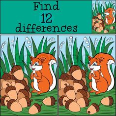 Stock vector of 'Children games: Find differences. Little cute squirrel stands on the stamp grass and looks at the pile of the acrons. Children Games, Games For Kids, Spot The Difference Kids, English Time, Cute Squirrel, Hidden Pictures, Picture Puzzles, School Humor, Early Childhood Education