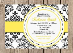 Baby Shower Printable Invitation - Black and White Damask, Red, Yellow, Hot Pink, Blue, Purple - 065 on Etsy, $14.00