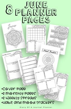 June Journal Planning Pages - Mandala Theme. Bujo printables to make your June spread amazing. Planner Sheets, Printable Planner Pages, Bullet Journal Printables, Templates Printable Free, Planner Stickers, Sticker Organization, Bullet Journal For Beginners, Perfect Planner, Bullet Journal Inspiration