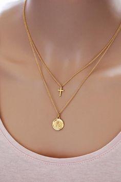 8784d4569e87 Sacred Heart of Jesus Christ - 2 Necklaces gold plated religious medal    holy cross - Catholic gift Christian jewel Saint Scapular - wedding