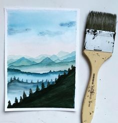 Worked on different layers for the mountain. I would recommend 300 gsm paper for working on layers as paper needs lot of water to absorb for this technique. Forest Drawing, Forest Painting, Sky Painting, Mountain Paintings, Nature Paintings, Landscape Paintings, Nature Decor, Nature Crafts, Nature Tattoos