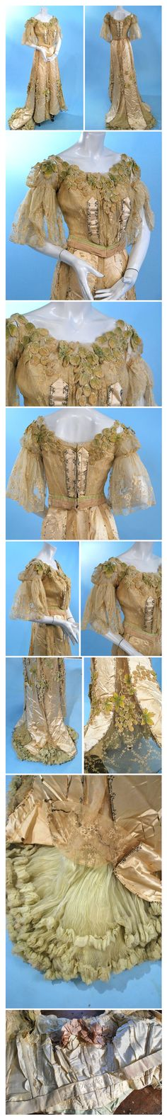1890s Ball gown labeled Redfern, Paris/NY.Bodice adorned with the hand tinted velvet grape applique that is featured thru out the outfit, further embellished with sparkling tiny silver sequins and metal spangles and rhinestones.  Panels of the silk alternating with delicate lace, lavish lime green knife pleat chiffon flounce under the skirt. Ebay:heartnsoul1 Carolyn Forbes Textiles