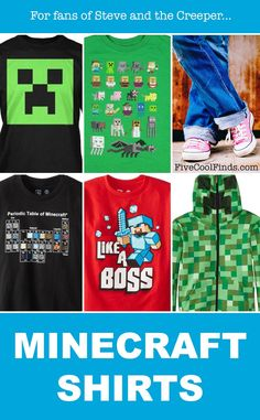 These Minecraft shirts would make a great gift for any boy who loves to play Minecraft!
