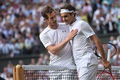 http://www.wimbledon.com/en_GB/interactive/galleries/2015-07-10/gentlemens_semifinal_federer_defeats_murray.html Andy Murray and Roger Federer at the net following their semi-final match on Centre Court.