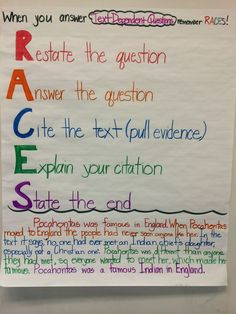 """Another new anchor chart for the room! """"When answering text dependent questions remember RACES!"""" I went through the acronym with the students, modeled an answer on the SMART board, and then we practiced it together. I paired this with the text we had read previously. And it worked great!"""