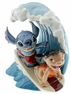 Lilo and Stitch surfing salt & pepper shakers