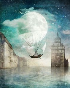 Anything can happen in a world that holds such beauty - Christian Schloe is a talented Chilean artist whose work includes digital art, painting, illustration, and photography. Wassily Kandinsky, Illustration Art, Illustrations, Magritte, Moon Art, Whimsical Art, Surreal Art, Fantasy Art, Digital Art