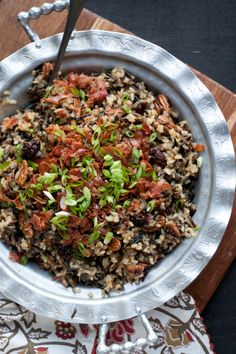 Gluten-Free Wild Rice Stuffing with Prosciutto, Cherries, and Spiced Pecans
