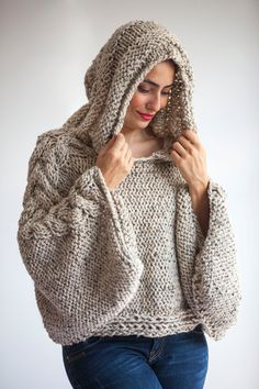 Tweed Beige Angel Sweater Capalet with Hoodie – Over Size Plus Size Tweed Beige Cable Knit by Afra Plus Size Knitting Sweater Capalet with Hoodie Over Size by afra Pull Crochet, Hand Crochet, Hand Knitting, Free Crochet, Knit Crochet, Tunisian Crochet, Knitting Patterns, Crochet Patterns, Poncho Patterns