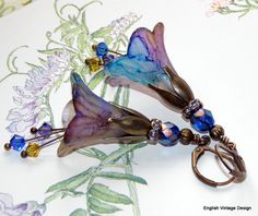 Lucite Flower Earrings,'Tufted Vetch', Victorian Earrings, Boho Earrings, Hand Painted, Dangle Earrings, Swarovski Crystals. Handmade