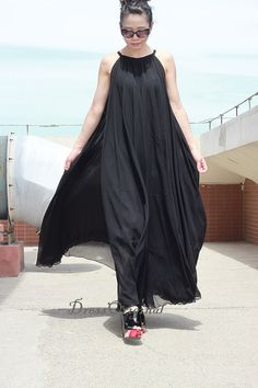 Black Maxi dress black summer dress Custom dress by DressOriginal