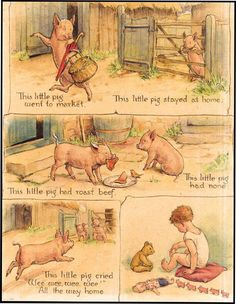 This little pig.- Margaret Tarrant original gouache on illustration board that appears in her Nursery Rhyme Book published by Collins in Childhood Poem, Nursery Rhymes Poems, Pomes, Kids Poems, Vintage Nursery, Vintage Children's Books, Little Pigs, Children's Literature, Fairy Art