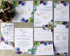 Watercolor Succulent and Gold Foil Downloadable Wedding Invitations by DColovenotes