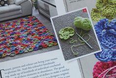 Crochet flower rug.