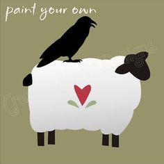 Primitive Stencil 3 Sheep Black Bird Crow Folk Art Country Heart Motif Blocks for sale online Primitive Sheep, Primitive Patterns, Primitive Folk Art, Primitive Crafts, Country Primitive, Primitive Embroidery, Primitive Signs, Arte Country, Pintura Country