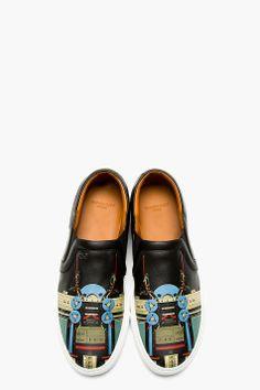 GIVENCHY Black Calfskin Radio Slip-On Shoes