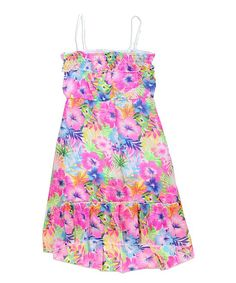 Pink & Blue Floral Hi-Low Dress - Girls