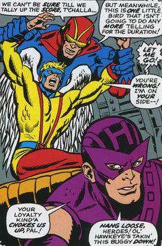 Goliath, Angel, and Hawkeye. (Avengers Vol.1 #53)