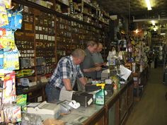 old hardware store - wooden shelves, wood floor, the smell of paint, lumber, glue