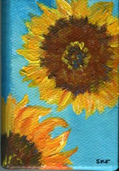 Sunflowers on turquoise blue canvas mini by SharonFosterArt