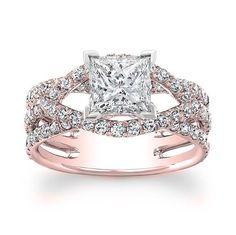 1.50 carat Princess Cut Diamond Halo Design Engagement Ring 14k Rose Gold