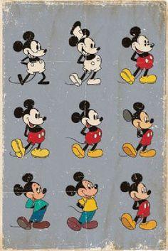 Póster Evolución Mickey Mouse. Disney Foto 1