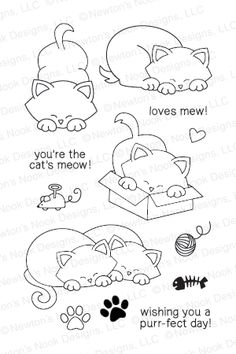 This adorable stamp set introduces Newton - our company namesake and adorable kitty. He's hanging out and doing what cats usually do - if he's not sleeping then he's getting into mischief! This stamp