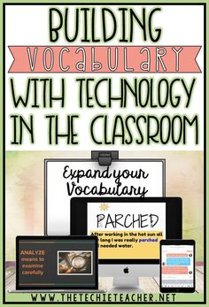 Effective ideas for building vocabulary with technology in the classroom whether you are or have access to Chromebooks, laptopstops, computers or iPads. Students will use different tech tools in creative and meaningful ways that will help develop and Vocabulary Instruction, Teaching Vocabulary, Vocabulary Building, Vocabulary Activities, Vocabulary Words, Teaching Reading, Teaching Resources, Teaching Tools, Teaching Ideas