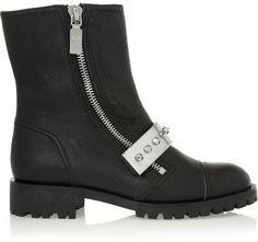 Alexander McQueen Stud-embellished leather biker boots on shopstyle.com