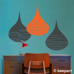 mid century rain drops wall decals, modern rain drop sticker art, geometric rain drops