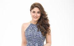 Download wallpapers Kareena Kapoor Khan, Indian actress, beautiful women, fashion model, blue dress, brunette, Bollywood