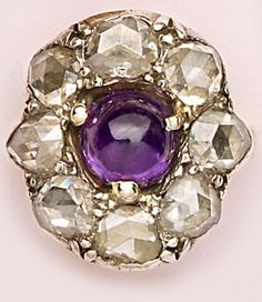Victorian Cabochon-Cut Amethyst, Rose-Cut Diamond, Silver And Gold Ring