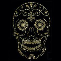 9x13  - GOLD ROUND STUD SUGAR (STUDS) - gold, round, skull, studs, sugar skull, Material Transfer, Skulls