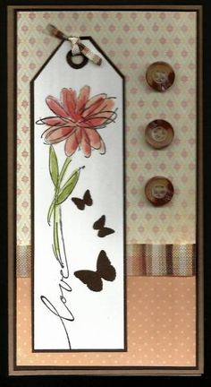 Love by BarbieP - Cards and Paper Crafts at Splitcoaststampers scrapbooking Butterfly Cards, Flower Cards, Scrapbook Cards, Scrapbooking, Envelopes, Button Cards, Pretty Cards, Sympathy Cards, Card Tags