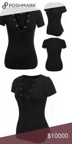 Lace up Top Super cute lace up t-shirt top. A great top for every day! (Brand only for exposure) lonna & lilly Tops