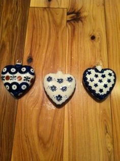 Bnwt S Set Of 3 Polish Pottery Christmas Tree Ornaments Retail Value 74 97