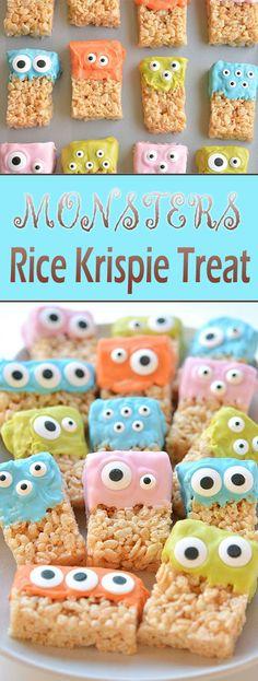 Monsters Rice Krispie Treat #halloweencookies