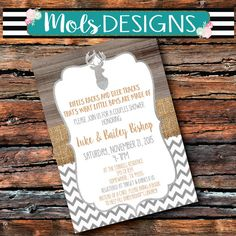 Any Color WOODSY Metal DEER Antlers BUCK Chevron Tan Grey Couples Shower Boy Modern Burlap Rustic Baby Wedding Shower Birthday Invitation