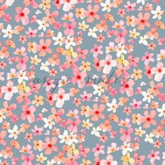 Adorable Pink Watercolor Flower Background Pattern.