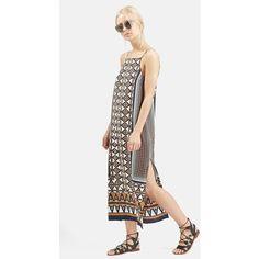 Topshop Stripe Print Midi Dress ($68) ❤ liked on Polyvore